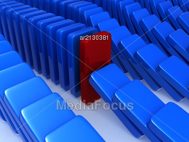 concept of stability, expressed as exceptions to the principle of dominoes, one of the dominoes was able to fight back and stop the fall of the other in its series. Stock Photo