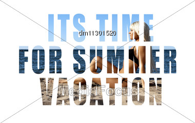 Conceptual Collage Of Summer Words Over Picture. Isolated On White Stock Photo