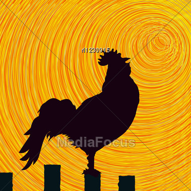Conceptual Graphic Rooster, Abstract Art Stock Photo