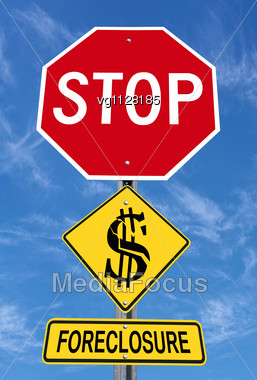 Conceptual Stop Sign With Word Foreclosure And Shattered Dollar Symbol Over Blue Sky Stock Photo