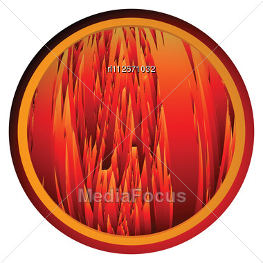 Conceptual Web Button With Flames Background Stock Photo