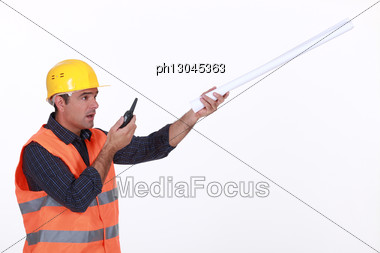 Concerned Traffic Guard Reporting A Problem Stock Photo