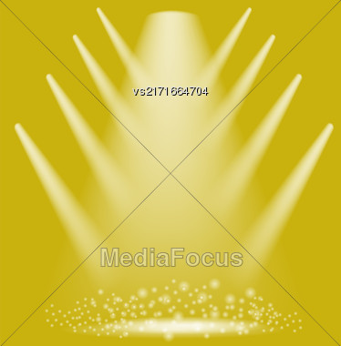 Concert Lighting. Stage Spotlights Background. Lantern Illuminates Yellow Background. Spotlight Pattern Stock Photo