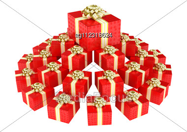 Cone Shaped Heap Of Red Gift Boxes With Presents Stock Photo