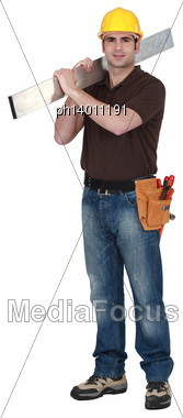 Confident Laborer On White Background Stock Photo