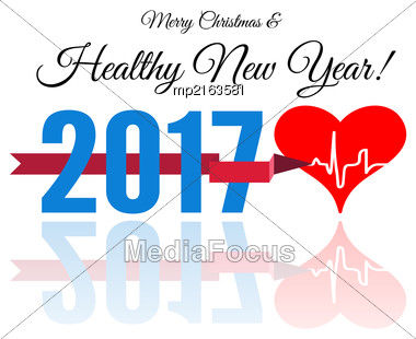 Congratulations To The Healthy New Year With A Heart And Cardiogram. Vector Illustration On White Stock Photo
