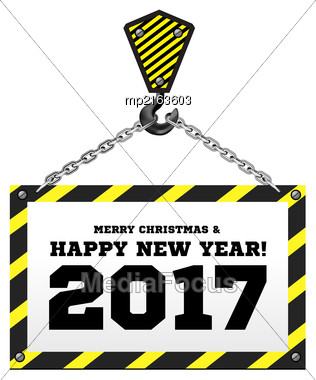 Congratulations To The New Year On The Background Of A Construction Crane. Vector Illustration Stock Photo