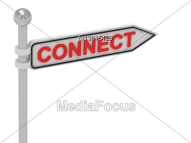 CONNECT Arrow Sign With Letters Stock Photo