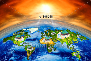 Construction Of Houses With Solar Panels In The World Stock Photo