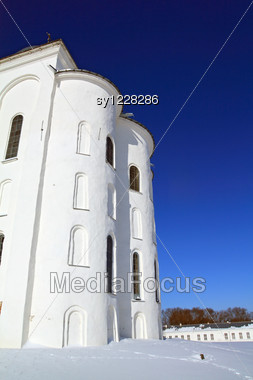 Conventual Wall On Snow Field Stock Photo