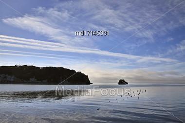 Cook Strait Collingwood New Zealand Ocean Island Stock Photo