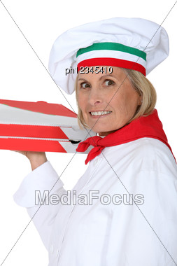 Cook With Pizza Boxes Stock Photo