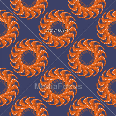 Cooked Red Shrimps Seamless Pattern On Blue Background. Tasty Sea Food Stock Photo