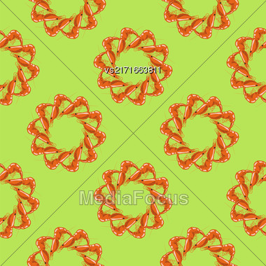 Cooked Red Shrimps Seamless Pattern On Green Background. Exquisite Sea Food Stock Photo
