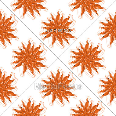 Cooked Red Shrimps Seamless Pattern On White Background. Tasty Sea Food Stock Photo