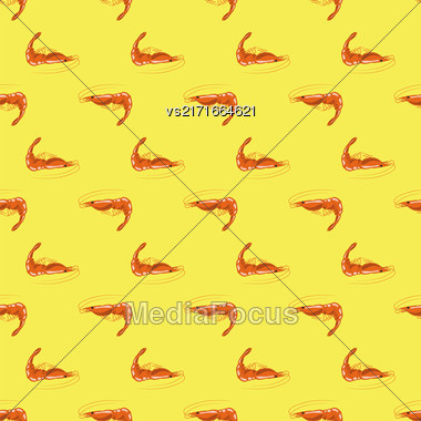 Cooked Red Shrimps Seamless Pattern On Yellow Background. Exquisite Sea Food Stock Photo