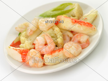 Cooked Shrimps With Crab Meat And Vegetables Stock Photo