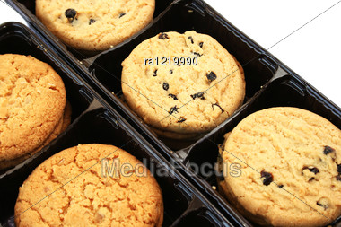 Cookies In Box On White Background. Stock Photo