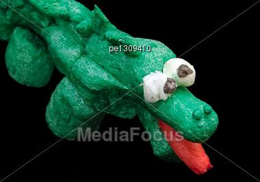 Corn Crocodile. Creativity Of Children From Preschool Age Stock Photo