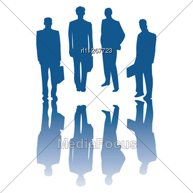 Corporate People Silhouettes, Isolated Vector Objects On White Stock Photo