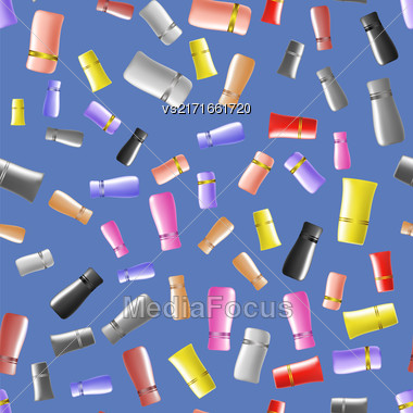Cosmetic Colored Tubes Seamless Pattern Isolated On Blue Background Stock Photo