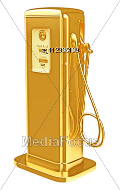 Costly Fuel: Golden Gasoline Pump Isolated On White. Large Resolution Stock Photo