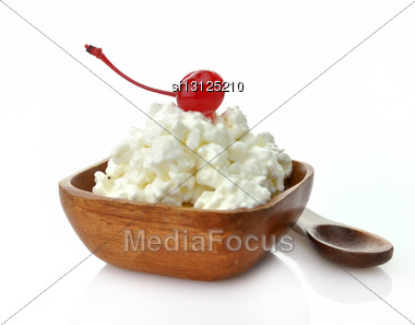 Cottage Cheese With Cherry In A Wooden Bowl Stock Photo