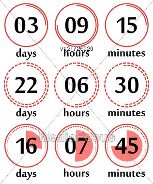 Countdown Web Site Flat Template Digital Clock Timer Background For Under Construction Design Or Coming Soon Stock Photo