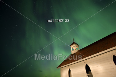 Country Church And Northern Lights In Saskatchewan Canada Stock Photo