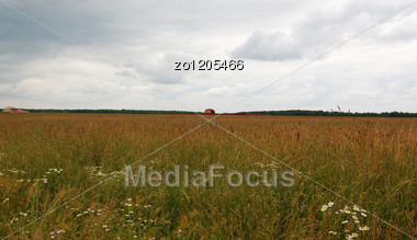 Country House In The Middle Of Fields Stock Photo