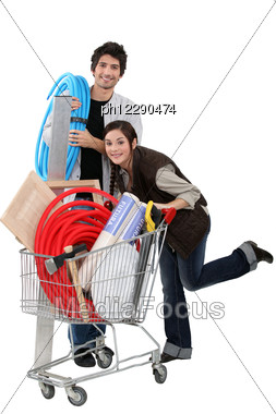 Couple At A Diy Store Stock Photo