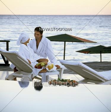 Couple at Luxury Spa Stock Photo
