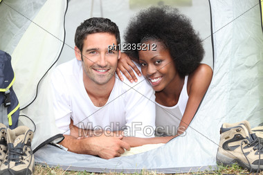 Couple Camping Together Stock Photo