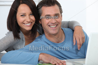 Couple Doing Some On-line Shopping Stock Photo