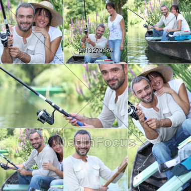 Couple Fishing Together Stock Photo
