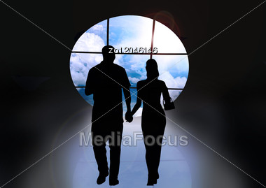 Couple Going On A Meeting To The Happy Future Stock Image