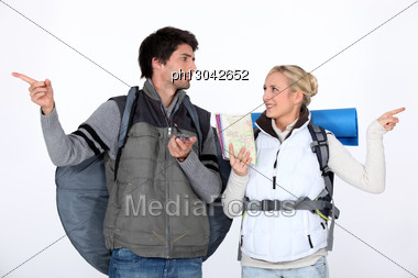 Couple Going On Hiking Trip Stock Photo