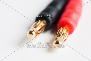 Couple Of Golden Electric Plug Jacks Of Red And Black Color Stock Photo