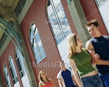 Couple Hang Out At School Stock Photo