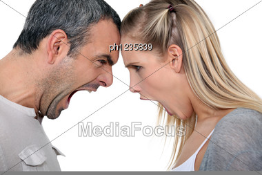 Couple Having A Screaming Match Stock Photo