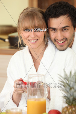 Couple Having Breakfast Stock Photo