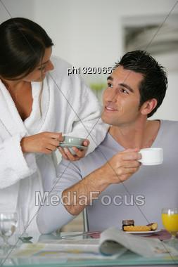 Couple Having Breakfast Together Stock Photo