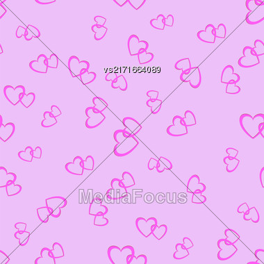 Couple Of Hearts Random Seamless Pattern On Pink Background Stock Photo