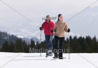 Couple In Snow Stock Photo