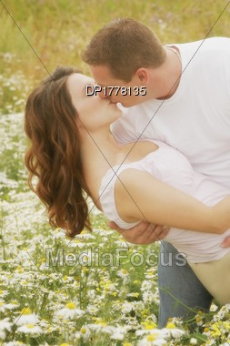 Couple Kiss In A Field Of Daisies Stock Photo