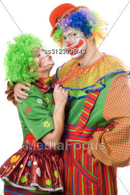 Couple Of Colorful Clowns. Stock Photo