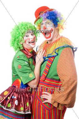 Couple Of Funny Clowns. Stock Photo