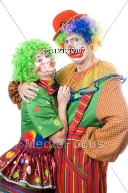 Couple Of Funny Clowns. Stock Photo