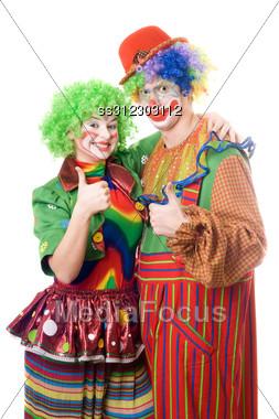 Couple Of Happy Clowns. Stock Photo