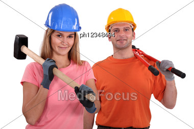Couple Of Manual Worker. Stock Photo